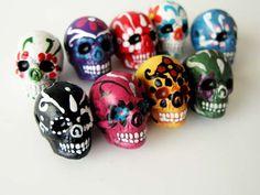 10 Large Sugar Skull Beads ceramic skull skulls by TheCraftyBead