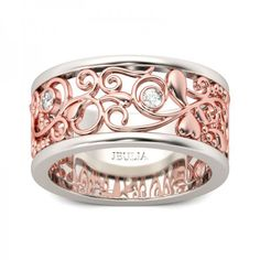 Rose Gold Filigree Round Cut Created White Sapphire Rhodium Plating Sterling Silver Women's Band