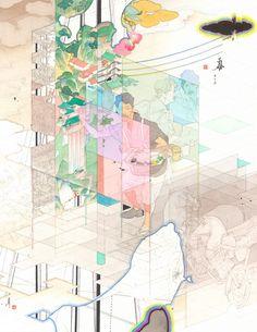 山口晃 前に下がる 下を仰ぐ 2014 紙に鉛筆、ペン、水彩、墨 36.6 x 28.9 cm ©YAMAGUCHI Akira, Courtesy Mizuma Art Gallery