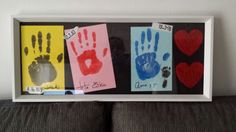 Cuadro con huellas de manos, de familiares. para habitacion de bebe