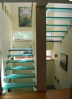 Straight staircases liberty in stainless steel and glass