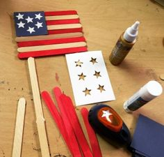 Popsicle Flag. The red sticks for these flags are made with just a little liquid watercolor. And if you color them ahead of time, the rest is an easy assembly project for kids of all ages. #artprojectsforkids #flag