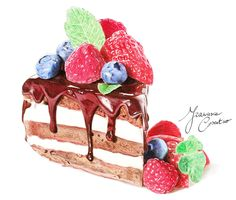 http://19frency94-art.deviantart.com/art/PRINT- Cake-with-fruits-481113589 - watercolor - art - fruit - dessert - food