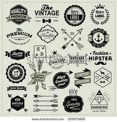 Collection of vintage labels, arrows, ribbons, symbols and design elements - stock vector