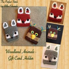 "Crochet Gift Card Holder - Fox, Wolf, Owl - Woodland Animals - Crochet Creations By: Rilla Edwards of ""The Perfect Stitch"" - Haktan craft Crochet Christmas Gifts, Christmas Crochet Patterns, Holiday Crochet, Crochet Gifts, Crochet Bags, Crochet Animals, Itunes Gift Cards, Free Gift Cards, Gift Card Presentation"