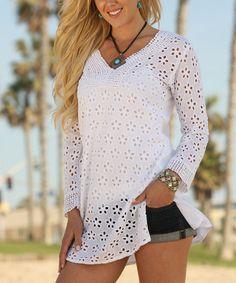 Look at this #zulilyfind! White Floral Crochet Tunic #zulilyfinds