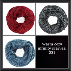 Still cold out and Just Jewelry still has these amazing cozy warm infinity scarves just for you! $21.  Justjewelry.com/heathertownsend  To shop and purchase :)
