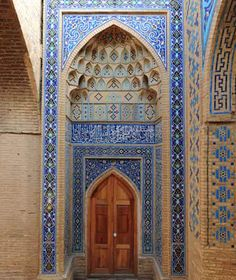 Meditate on the patience of the artisan who created this beautiful entryway. How did he see the picture in his mind of the finished product before he even started. Much of art is an inspiration.  New Wonders of the World: Masjed-e Jame of Isfahan