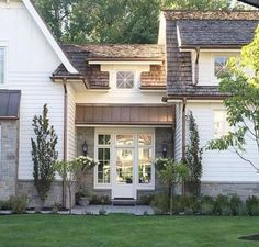 Exterior Paint Colors - You want a fresh new look for exterior of your home? Get inspired for your next exterior painting project with our color gallery. All About Best Home Exterior Paint Color Ideas Modern Exterior, Exterior Design, Stone On House Exterior, Farmhouse Addition, Farmhouse Architecture, Garage Addition, Exterior Paint Colors, Breezeway, Home Additions