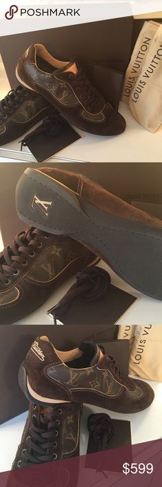 LOUIS VUITTON MEN'S SNEAKERS 100% AUTHENTIC LOUIS VUITTON ALMOST NEW MONOGRAM MEN'S SNEAKERS 100% AUTHENTIC. STUNNING SHOES AND ALWAYS STYLISH. NEAR PERFECT CONDITION. I WORE THEM ONE TIME. THE COME WITH ORIGINAL BOX, 2 ORIGINAL DUST BAGS, ADDITIONAL PAIR OF NEW LACES, AND PAPERWORK OF AUTHENTICITY Louis Vuitton Shoes Sneakers