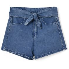 Chicnova Fashion Blue Korean Cute High Waist Bow-tie Denim Shorts ($13) ❤ liked on Polyvore featuring shorts, bottoms, clothes - shorts, short, high waisted short shorts, high rise denim shorts, short jean shorts, blue jean shorts and jean shorts