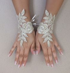 Free shipchampagne gold Wedding gloves bridal by ByMiracleBridal