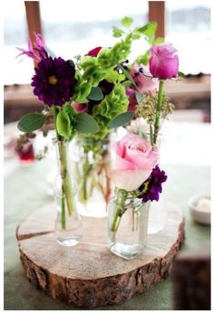 wooden centerpiece  like the purple and green combo with light green linens?
