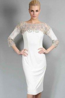 Sheath/Column Bateau Tea-length Jersey Evening Dress