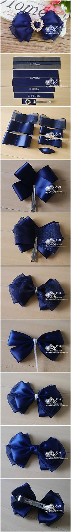 Discover thousands of images about Beaded hair bows Mais Ribbon Art, Diy Ribbon, Ribbon Crafts, Ribbon Bows, Diy Crafts, Hair Ribbons, Diy Hair Bows, Diy Bow, Hair Bow Tutorial
