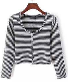 Stylish Scoop Neck Long Sleeve Striped Cardigan For Women