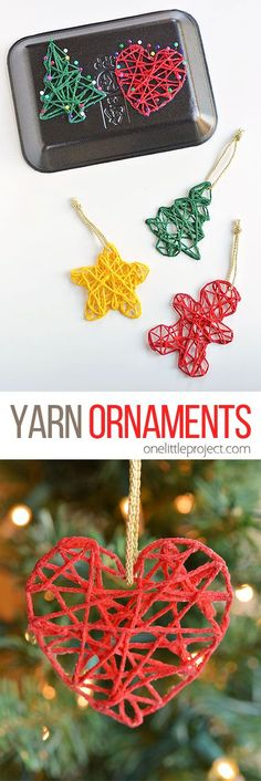 These wrapped yarn ornaments are SO PRETTY and they& so fun to make! Using yarn, glue, sewing pins and styrofoam trays you can make unique and beautiful homemade Christmas ornaments! They look beautiful on the Christmas tree and they make awesome gifts. Diy Christmas Ornaments, Christmas Projects, Crochet Christmas, Homemade Ornaments, Christmas Trees, Dough Ornaments, Kids Craft Christmas Gifts, Kid Craft Gifts, Christmas Crafts For Kids To Make At School