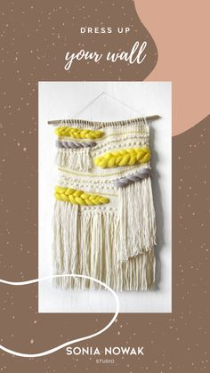 This is a hand made, one-of-a-kind woven wall hanging with driftwood top inspired by the summer, beach and sea. This beige and yellow hand crafted boho tapestry brings a beautiful texture to any wall of your home.