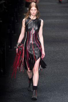 Alexander McQueen - Leather + Strings, esp. in red.