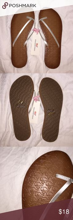 Vineyard Vines embossed silver flip flops These Vineyard Vines silver flip flops have never been worn before and still have the original tag on them! Size 10 but runs a little small and would fit a size 9 better! Goes super cute with any outfit! Vineyard Vines Shoes Sandals