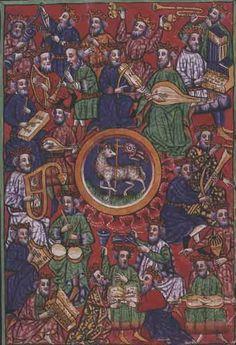 MusicArt CODICE (daté 1448 )  Contiene gran variedad de instrumentos musicales: CAMPANAS  y TRIÁNGULO , FLUTE  a BEC , GRELOTS  y TROMPETA , VIOLA , ÓRGANO  PORTATIVO , LAÚD , TAMBOURIN  de BEARN , SALTERIO , BUCINE , ARPA  de MANO .(Mt)