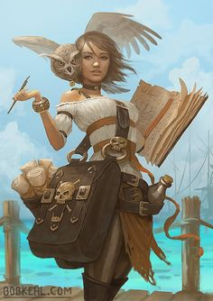 Wizard girl holding a giant spellbook with owl familiar on her shoulder and a giant bag on her hip.