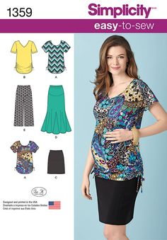 Simplicity Easy-to-Sew Pattern 1359 Misses Maternity Knit Skirts, Gaucho Pants and Tops Sizes XS-XL Maternity Sewing Patterns, Clothing Patterns, Fit And Flare Skirt, Simplicity Sewing Patterns, Baby Patterns, Dress Patterns, Knitting Patterns, Maternity Tops, Maternity Clothing