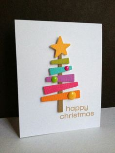 9 More Easy Homemade Christmas Cards with Step by Step Instructions – DIY Theory Christmas Tree Cards, Holiday Cards, Button Christmas Cards, Christmas Tables, Xmas Trees, Christmas Crafts, Christmas Decorations, Felt Christmas, Christmas Design
