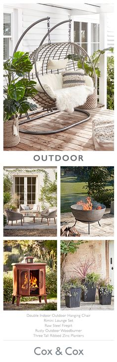 Create a stylish haven in your garden with Cox & Cox's outdoor living collection. Add some character with a statement brazier, some aged planters or a hanging chair. Quirky Home Decor, Wood Home Decor, Indoor Outdoor Living, Outdoor Spaces, Back Gardens, Outdoor Gardens, Dream Garden, Home And Garden, Garden Design Plans