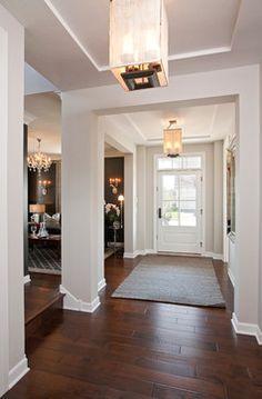 Repose Gray (#7015) Sherwin Williams white trim dark floors,  chose this paint color!