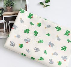 Laminated Cactus Pattern Green Color Cotton от luckyshop0228