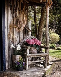 love the chair with flowers idea for the front door area