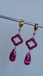 50% offIt couldn't get any brighter with these one of a kind fuschia pink earrings, gold vermeil  huggie hoops are paired with quatrefoil turquoise, pink sapphires and quartz drops for something flirty.