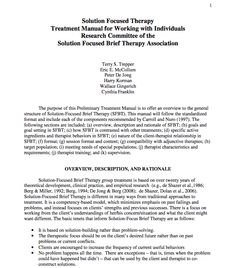 Solution Focused Therapy Treatment Manual