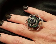 SunFlower Ring, Cubic Zirconia Flower Ring, Multistone Ring, Big Ring, Fashion Ring, Green and Blue Cubic Zirconia Stones