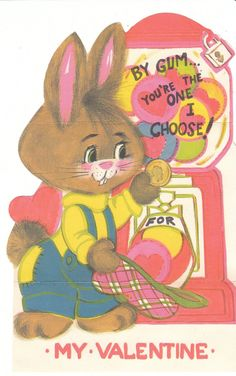 """A cute little gunny rabbit uses a gum ball machine. """"By gum - you're the one I…"""