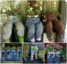 DIY Old Jeans Planters Are you looking for some ideas to recycle old jeans? DIY Old Jeans Planters is a very special one to add something distinctive to your garden or lawn. Garden Crafts, Garden Projects, Recycling Projects, Garden Ideas, Jeans Recycling, Diy Recycling, Recycle Jeans, Diy Crafts, Yard Art