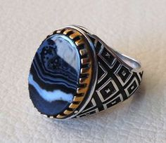 oval onyx agate black stone sterling silver 925 men ring arabic turkish persian style all sizes jewelry with bronze please write your size with the order and I will size it for you . Our ring is handcrafted mostly with a few simple tools . but some methods are used in casting like lost wax method . note that stone stripes may be slightly different . sterling silver 925 is used and bronze black natural stone onyx agate . stone size : 18 mm * 13 mm