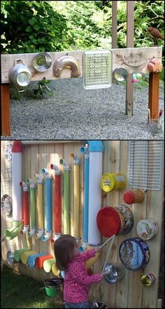 Want your little kids to explore and be more active outdoors? Then you've got to give them something that's really fun and entertaining, like this DIY outdoor music wall! There are many ways to create an outdoor music or sound wall, Kids Outdoor Play, Outdoor Play Spaces, Kids Play Area, Outdoor Toys, Childrens Play Area Garden, Eyfs Outdoor Area, Kids Play Spaces, Outdoor Games, Preschool Playground