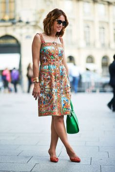 Dolce & Gabbana dress and Gucci shoes.