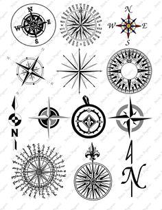 Compass Digital Collage. $2.95, via Etsy.