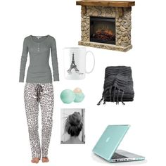 """""""Sitting by the fire / sleepwear / lazy day / pj's / Tiffany blue"""" by marybosler on Polyvore"""