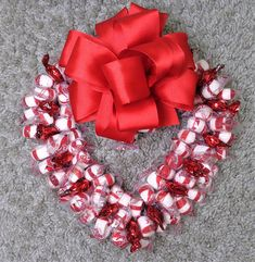 Candy Wreath Valentine Arrangement Peppermint Edible Heart