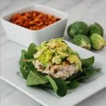 Chicken Bacon Burgers with Brussels Sprout, Apple, Avocado Slaw