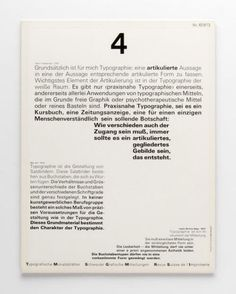 Wolfgang Weingart Zeitschriftumschlag  4 Henri Friedlaender: 1969 (Originaltitel) Typografische Monatsblätter Nr. 4/1973 (Untertitel) 1973