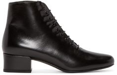 Supple leather ankle boots in black. Lace-up closure. Black Lace Up Boots, Short Black Boots, Leather Lace Up Boots, Black Ankle Booties, Lace Up Booties, Lace Up Ankle Boots, Leather Ankle Boots, Black Babies, Saint Laurent