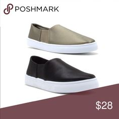 Black Satin Slip Ons I love this style shoe! Casual and comfortable slip on sneakers. Perfect for on the go! Brand new in the box.  Available in black and khaki/olive. Material is satin. PRICE IS FIRM. THIS LISTING IS FOR THE BLACK SLIP ONS Shoes Sneakers