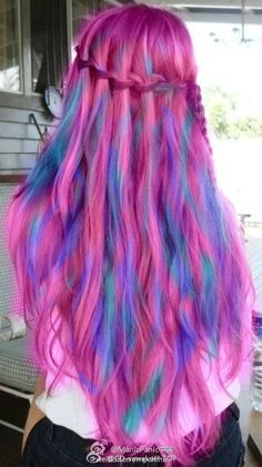 Amazing multicolored pink, green, and purple waterfall braided dyed hair!  seriously how stupid do you have to be to think this is real and not photoshopped
