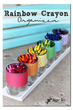 This rainbow Crayon holder makes every cleanup a breeze! Turns color into a cute display.