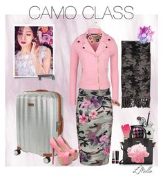 """""""Camofloural"""" by lmello on Polyvore featuring Samsonite, New Look, A. Kurtz, Boutique Moschino, Sequin, Betsey Johnson, Napoleon Perdis, MAC Cosmetics, Casetify and Guerlain"""